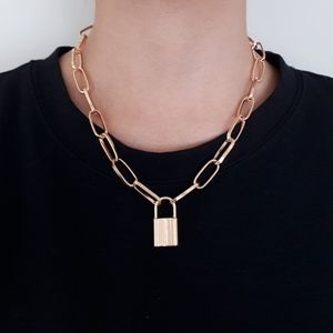 New Gold Colour Lock Pendant Chain Necklace